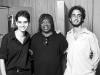 Com Milton Nascimento e Thomas Saboga, gravação de 'Flor de Pão', de Simone Guimarães, na Biscoito Fino, 28 de abril de 2006. Foto de Marcelo Correa